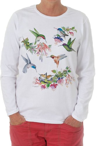 (Hummingbirds of North America Long Sleeve Shirt by Valerie Pfeiffer - XX-Large)