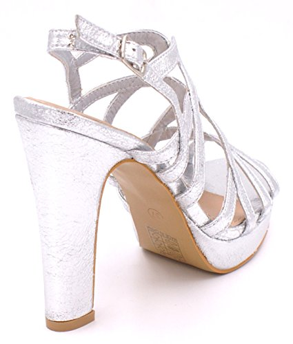 SHU CRAZY Womens Ladies Metallic High Heel Sling Back Buckle Strap Open Toe Platform Fashion Party Evening Sandals Shoes - D90 Silver 0xFq6cCC