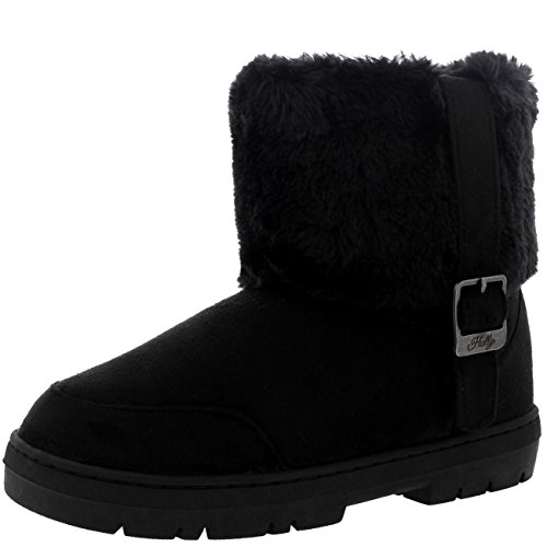 Cuffed Booties (Womens Cuffed Fur Lined Side Buckle Ankle Pull On Flat Winter Shoe Boots - 8 - BLA39 EA0409, Black)