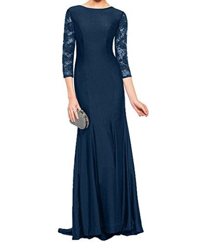 Navy Elegant Charmant Brautmutterkleider Abendkleider Damen Festlichkleider Ballkleider Partykleider Blau Spitze Langarm Uqfqgzw