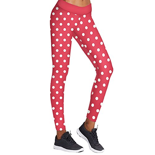 Women Fashion Christmas Red White Polka dot (Red And White Polka Dot Leggings)