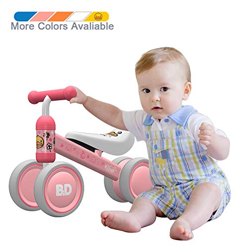 Ancaixin Baby Balance Bikes Bicycle Children Walker 10 Month - 24 Month Toys for 1 Year Old No Pedal Infant 4 Wheels Toddler Best First Birthday New Year Gift Pink Duck (Best Duck Loads 2019)