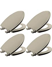 Toilet Seat with Easy Clean & Change Hinges, Round, Durable Enameled Wood, Biscuit/Linen