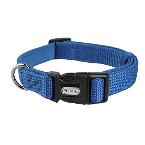 14' Long Dog Collars - YUDOTE Basic Solid Dog Collars, Heavy Duty Nylon Dog Collar for Large Dogs, Adjustable, Soft, Thick, Blue, Large, Neck 14