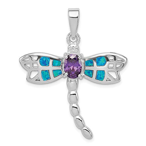 925 Sterling Silver Created Opal Inlay Dragonfly Purple Amethyst Pendant Charm Necklace Insect Fine Jewelry Gifts For Women For Her