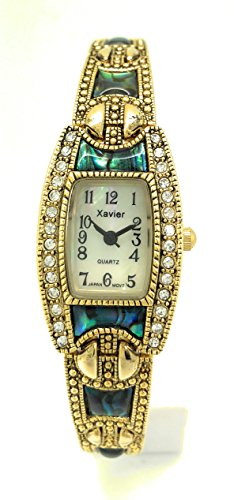 Bracelet Dial Watch Link (Ladies Square Stones Metal Link Bracelet Fashion Watch Pearl Dial Wincci (gold abalone))