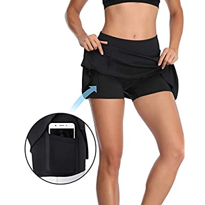 Meja Women's Pleated Tennis Skirt, Elastic Quick-Drying Active Performance Skort with Shorts Pocket Running Golf Casual Skirt: Clothing