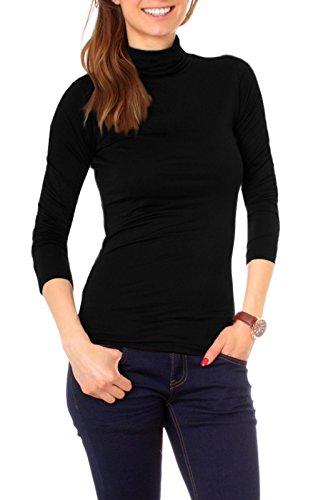 Damen Basic Langarm Shirt mit Rollkragen uni onesize - schwarz
