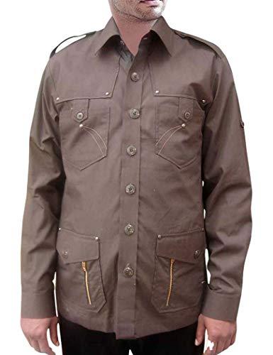 INMONARCH CrocodileHunter Costume Safari Brown Cotton 4 Pocket Bush Shirts HS104MEDIUM M (Medium) Brown