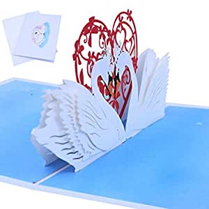 Amazon Com Loxtong 3d Pop Up Greeting Cards Swan Handicrafts