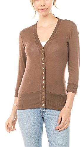 Vialumi Women's Solid 3/4 Sleeve Cardigan with Ribbed Details Mocha Large