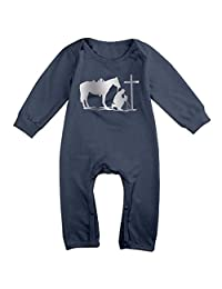 Newborn Cowboy Horse Prayer Cross Platinum Style Infant Baby Girls Boys Romper