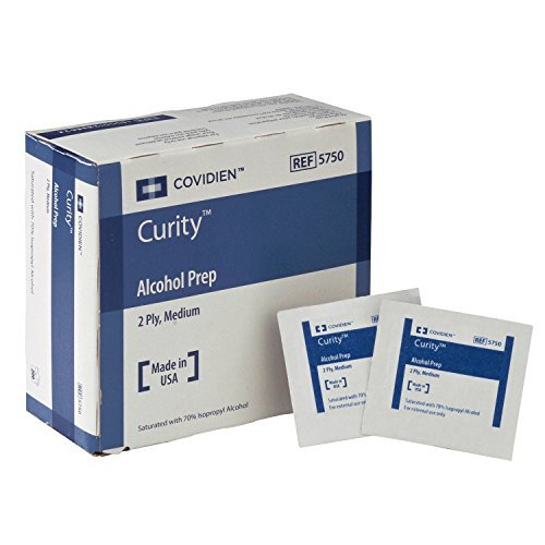 Curity Alcohol Prep Pads, Covidien 5750, Sterile, Medium, Box of 200, 2-Ply *Special Pack of 4 - Prep Pads Iv