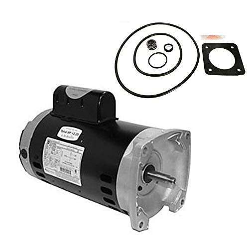 Puri Tech Sta-Rite Max-E-Glas 2HP PE5G-122L Replacement Motor Kit AO Smith SQ1202 w/GO-KIT-6 /Capacitor Run, ODP Enclosure, Square Flange Pool Motor