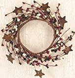 Country Mix Pip Ring W/ Rusty Stars Navy Burgundy Ivory Berries Country Primitive Floral Décor