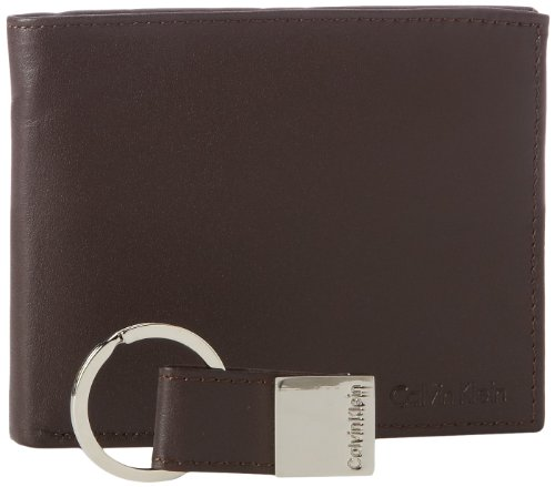 Calvin Klein Men's RFID Blocking Leather Bifold Wallet, Key Fob Brown, One Size