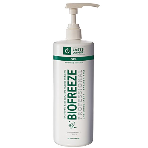 Biofreeze Professional Pain Relieving Gel, Topical Analgesic for Quick Relief of Arthritis, Muscle, Joint Pain, NSAID Free Pain Reliever Cream, 32 oz with Pump, Original Green Formula, 5% ()