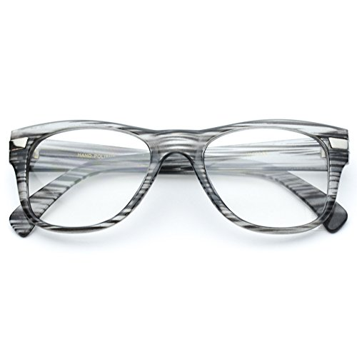 WearMe Pro - Thick Frame Square Frame Style Glasses - Non Prescription Grey Frame