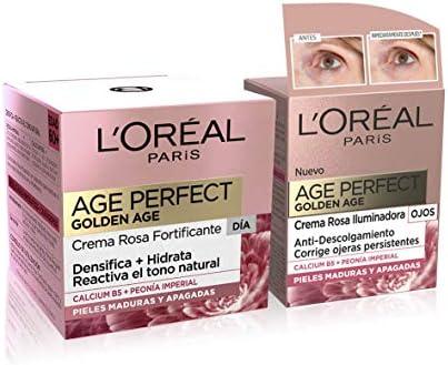 L'Oréal Paris Age Perfect Golden Age Set de Crema de Día Fortificante de Rosas y Contorno de Ojos Antiojeras, Antiarrugas y Luminosidad, Pieles Maduras y Apagadas, 50 ml y 15 ml