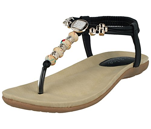 Flop Flip 8 Size Navy Ladies 3 Bead Look Summer Bead Shoes Toe Post Flat Sandal Fashion Leather Diamante qzRZx8Fq