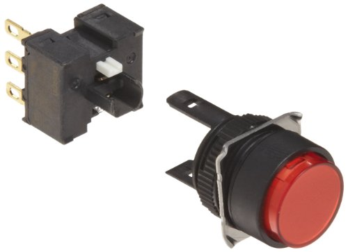 Omron A165-TRM-1 Projection Type Pushbutton and Switch, Solder Terminal, IP65 Oil-Resistant, 16mm Mounting Aperture, Non-Lighted, Momentary Operation, Round, Red, Single Pole Double Throw Contacts