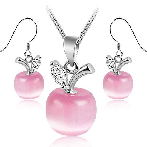Rose Pink Opal Swarovski Crystals Apples Set Necklace Earrings 18K White Gold GP Apple Necklace Earrings