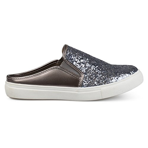 (Brinley Co. Womens Glitter Faux Leather Slide Sneakers Pewter, 8.5 Regular US)