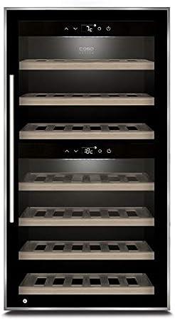 Caso WineComfort 66 - Nevera de vino para 66 botellas, 2 zonas ajustables a 5-20 °C, táctil, iluminación LED independiente, cristal UV, color negro[Clase de eficiencia energética A]