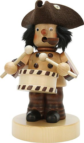 Vintage Drummer Boy with Pipe 8 x 5 inches Natural Wood Tabletop Incense Burner Smoker