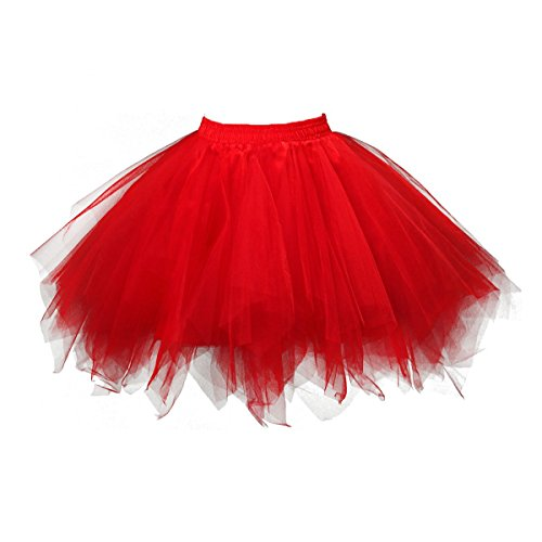 Big Girls Tutu Skirts Layered Tulle Princess Dresses Sparkle Halloween Tutu Red]()