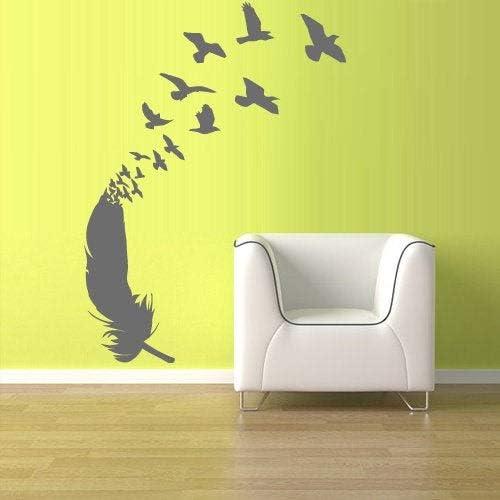 Calcomanía de plumas para pared, diseño de pájaros, decoración de pared, gráficos para recámara, oficina, habitación, casa, estudio, yoga, rvz1202