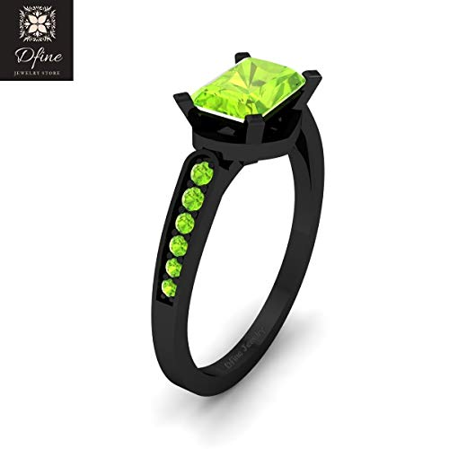 Light Green Peridot Radiant Cut Engagement Ring For Women Solid 14k Gold Wedding Ring