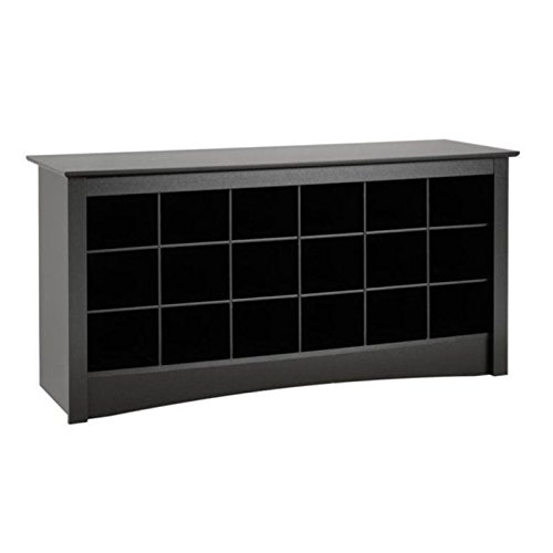 - BOWERY HILL 18 Cubby Shoe Storage Bench in Black