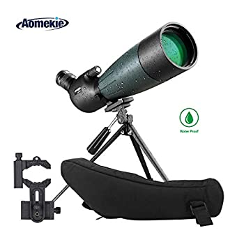 Image of AOMEKIE Spotting Scope with Tripod Phone Adapter Case 20-60X80 for Target Shooting Hunting Bird Watching Waterproof Fogproof FMC BAK4 45°Angled Monocular Telescope