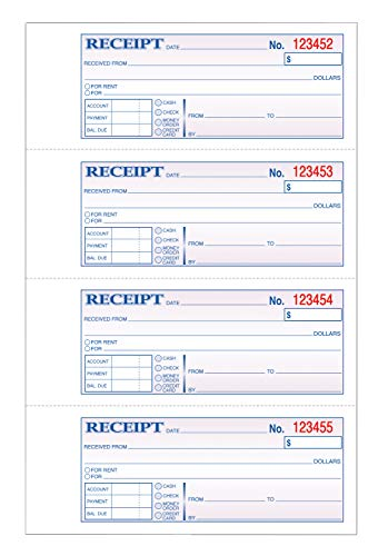 TOPS Money/Rent Receipt Book, 3-Part, Carbonless, 11 x 7-5/8 Inches, 4 Receipts/Page, 100 Sets per Book (46808)