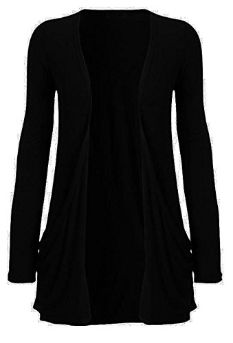 Crazy Girls Womens Boyfriend Pocket Cardigan Jersey Shrug (M/L-US10/12, Black)