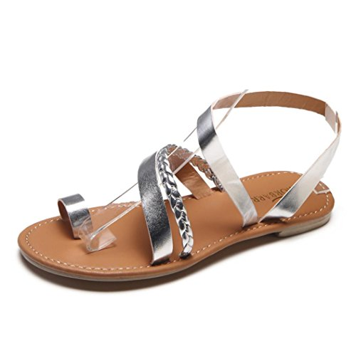 Clode® Frauen Sommer Riemchen Gladiator Low Flat Heel Flip Flops Strand Sandalen Schuhe Silber