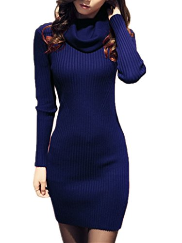 V28 Women Cowl Neck Knit Stretchable Elasticity Long Sleeve Slim Fit Sweater Dress XS/S US 2-8 Blue