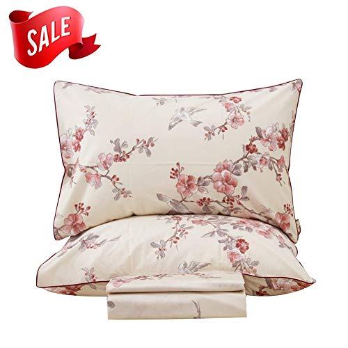 SexyTown Floral Bird Print Bedding Sheet Set Egyptian Cotton Sheets 4-Piece California King Size