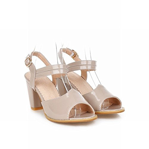 Carol Shoes Fashion Womens Summer Charming Chic Buckle Chunky High Heel Sandals apricot CjQcJ