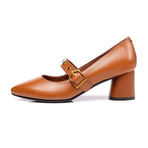 EU36 Profond Bureau Talons Couleur Chaussures UK4 Élégant Milieu Femmes CJC Brown Travail Black Taille Dames Peu Bouche E6wqC
