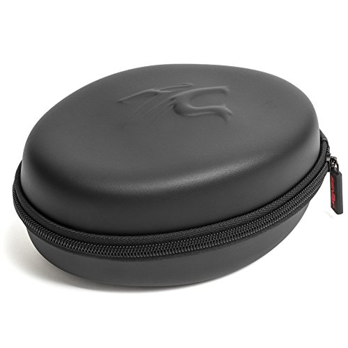 Sentey LS-7501 Universal Black Carrying Case for Foldable Headphones with Metal Zipper, Eva Rubber, Dual Compartments, Compatible with Most Foldable Headphones, Inner Dimensions 6.75 x 5 x 3.5 inches