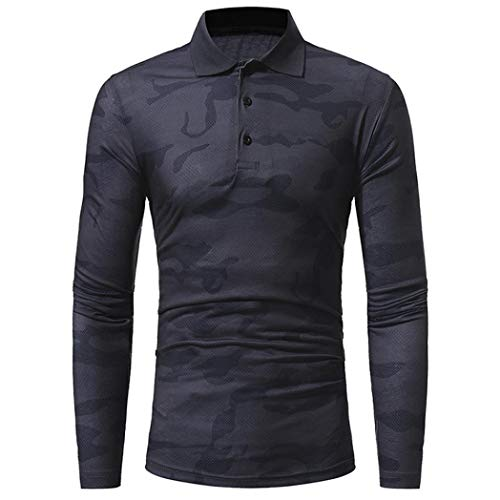 kaifongfu Slim Shirt,Men Camouflage Polo Collar Shirt Long Sleeve Top Blouse(Dark (Acne Jeans Dress)