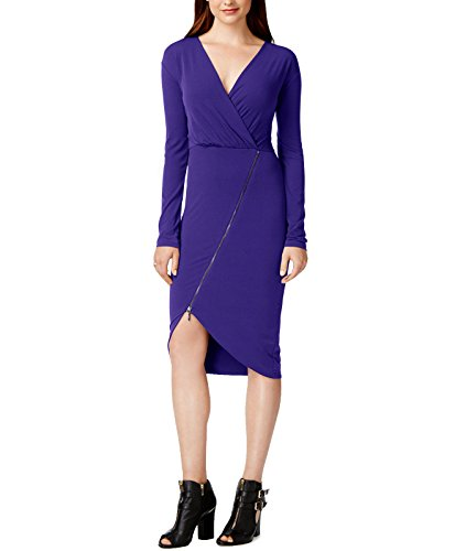 Rachel Rachel Roy Women's Asymmetrical Zip Matte Jersey Dress (Small, Purple)