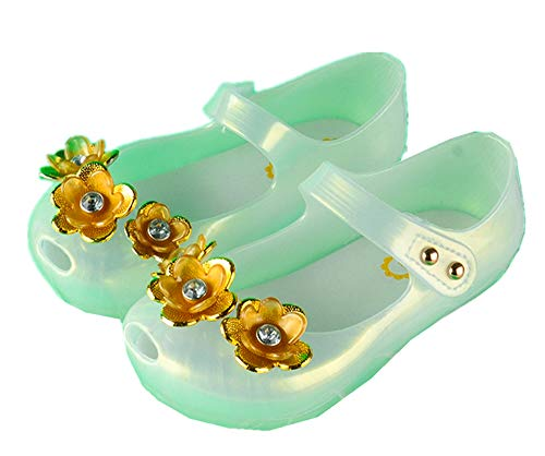 ZWEILI LED Light Sandals Transparent Color Cartoon and Fllower Girls Baby Shiny Sandals(White-Flower,26)]()
