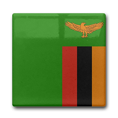 Flag Of Zambia Square Ceramic Coffee Drink Coasters Waterproof Non Slip Cup Mats Coasters