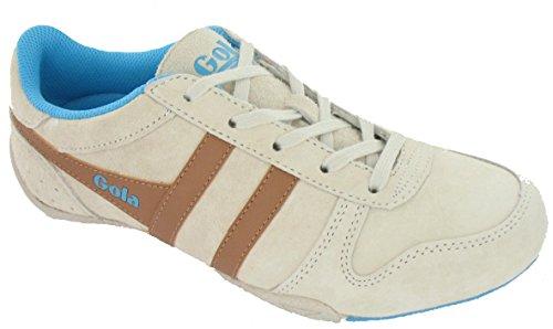 Gola Womens Chase Fashion Sneaker Ecru / Tan / Blue