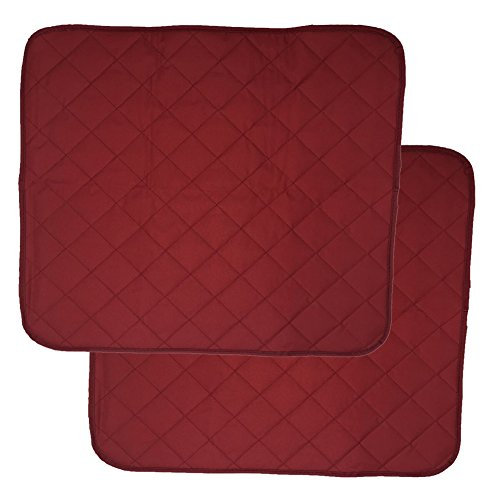 LUXEHOME Set of 2 Waterproof Cozy Seat Protector Cushion 22x21 Inch (Burgundy)
