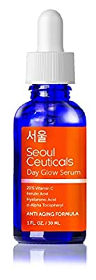 Seoul Ceuticals Korean Skin Care - 20% Vitamin C E Ferulic Serum With Hyaluronic Acid Provides Potent Anti Aging, Anti Wrinkle Results. 1 OZ