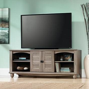 Independiente TV Soporte para televisor de 60 pulgadas con armarios y ajustable estantes abiertos, incluye orificios de gestión de Cable, terminado en sal acabado en madera de roble, medios de comunicación de